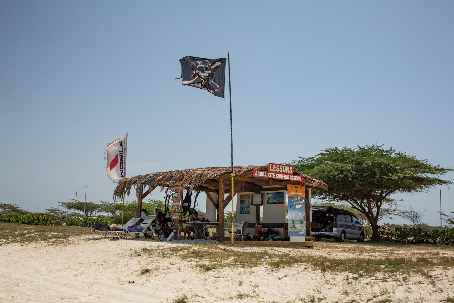 de kitesurfschool in het noordwesten van Aruba
