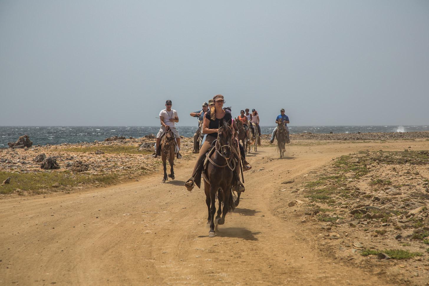 de ruige noordkust van Aruba is prachtig om per paard te verkennen